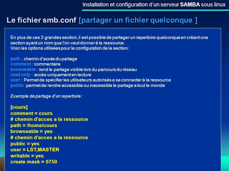 Le fichier smb.conf [partager un fichier quelconque ]
